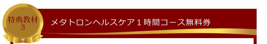特典教材3:メタトロンヘルスケア1時間コース無料券