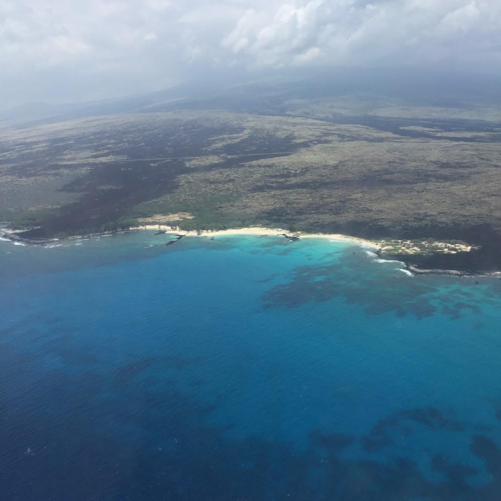ハワイ島の写真(ハワイアン航空の機内より撮影)
